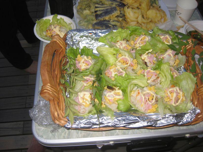 Homemade lettuce-wrapped sushi!